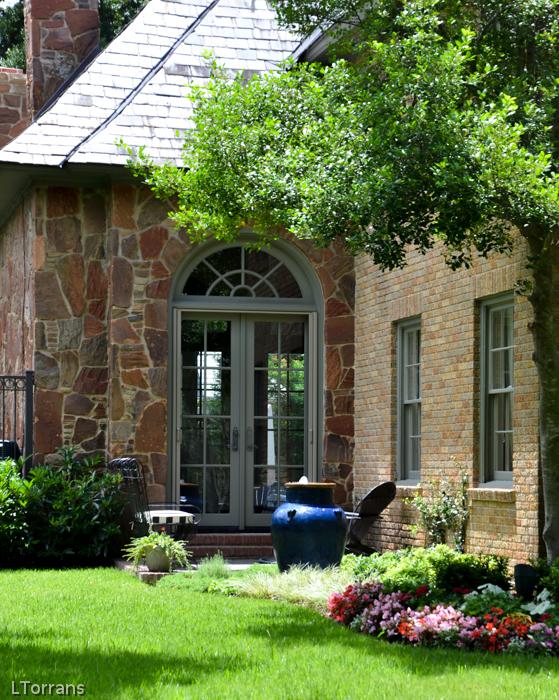 Fountain and Blue Garden Gates Dallas Landscape and Design
