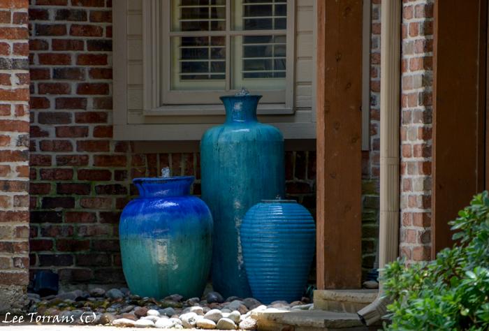 Blue Urn Fountains in Dallas Landscape Design